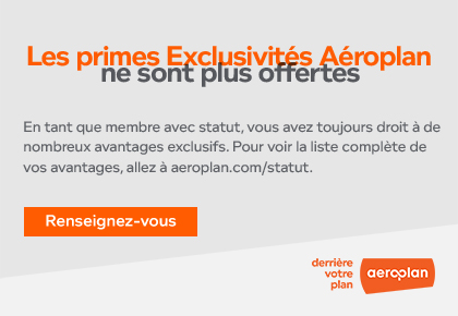 Aeroplan Exclusives rewards are no longer available